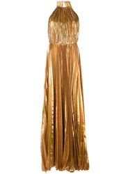 Maria Lucia Hohan Halterneck Pleated Gown Metallic