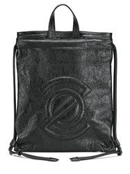 Zanellato Logo Embossed Backpack Black