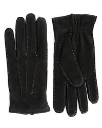 Agnelle Black Arthur Nubuck Gloves With Blue Stitching
