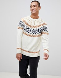 Bellfield Brushed Knitted Jumper With Fairisle Cream