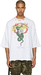 Unravel White Distressed Snake Boxy T Shirt