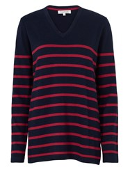 Tulchan Stripe V Neck Jumper Berry