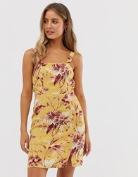 New Look Floral Print Dress In Yellow Pattern
