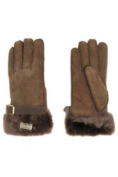 Australia Luxe Collective Buckled Shearling Gloves Chocolate