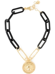 Versus Lion Gold Medal Short Necklace Black