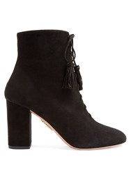 Aquazzura Jourdan Lace Up Suede Boots Black