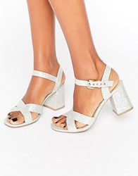 London Rebel Mid Heel Sandal Silver Lurex