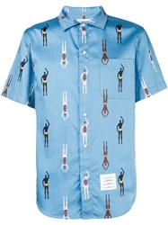 Thom Browne Swimmer Print Polo Collar Shirt Blue