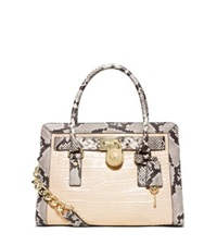 Michael Kors Hamilton Two Tone Embossed Leather Satchel Ecru