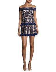 Romeo And Juliet Couture Off The Shoulder Lace Dress Navy