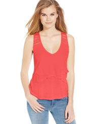 Jessica Simpson Sleeveless Crochet Inset T Hot Coral