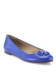 Tory Burch Lowell 2 Leather Ballet Flats Saucy Pink Blue Macaw