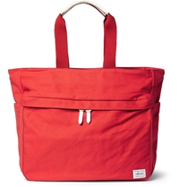 Porter Yoshida And Co Beat Leather Trimmed Canvas Tote Bag Red
