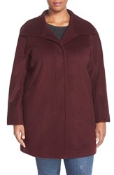 Plus Size Women's Ellen Tracy Wool Blend A Line Coat Merlot