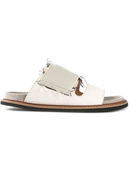 Maison Margiela Flat Frayed Sandals Nude And Neutrals