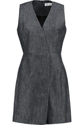 Victoria Beckham Wrap Effect Cotton Chambray Mini Dress Gray