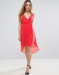 Jasmine V Front Dress With Dip Hem Orange