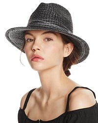 Aqua Straw Fedora With Contrast Stitching 100 Exclusive Black White