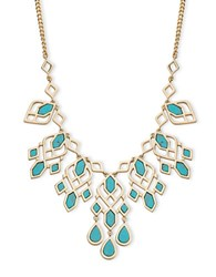 Ivanka Trump Turquoise Re Constituted Stone Drama Frontal Necklace