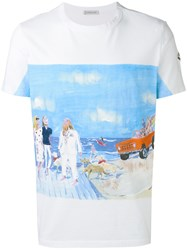Moncler Beach Scene Print And Embroidery T Shirt White