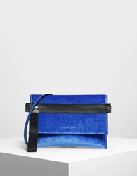 Charles And Keith Nylon Strap Zipper Clutch Blue