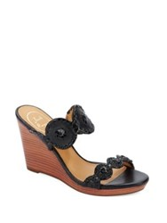 Jack Rogers Luccia Leather And Patent Leather Wedge Sandals Platinum