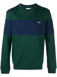 Lacoste Striped Crew Neck Sweater Green