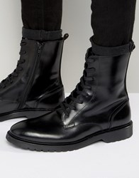 Zign Leather Military Lace Up Boots Black