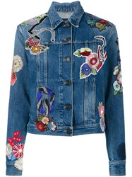 Saint Laurent Floral Patch Denim Jacket Women Cotton M Blue