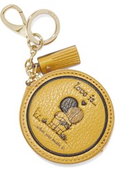 Anya Hindmarch Love Is Textured Leather Keychain Mustard