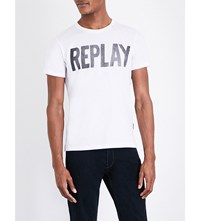 Replay Logo Print Cotton Jersey T Shirt Optical White