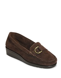 Aerosoles Parisian Suede Wedge Loafers Brown Suede