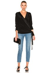Diane Von Furstenberg Cross Over Blouse Top In Black
