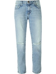 Current Elliott Distressed Five Pocket Jeans Blue