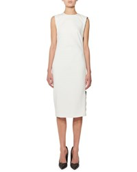 Tom Ford Sleeveless Zip Trim Sheath Dress White
