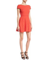Alice Olivia Shane Cap Sleeve Skater Dress Red