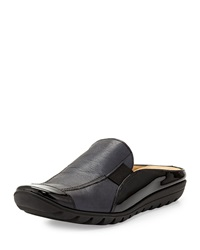 Sesto Meucci Grain And Patent Leather Slide Black