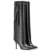 Valentino Embellished Leather Knee High Boots Black