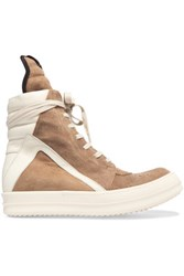 Rick Owens Leather Trimmed Suede High Top Sneakers Light Brown