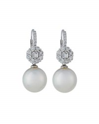 Belpearl 18K Floral Diamond And White South Sea Pearl Drop Earrings