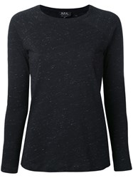 A.P.C. Long Sleeve Sweater Women Cotton Linen Flax Other Fibers L Black