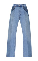 Re Done Ultra High Rise Straight Leg Patchwork Jeans Light Wash