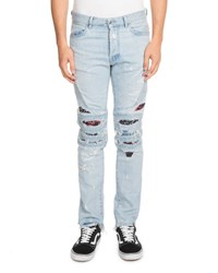 Marcelo Burlon Distressed Biker Jeans Blue