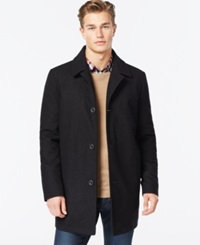 Kenneth Cole Wool Blend Tweed Walker Coat Black