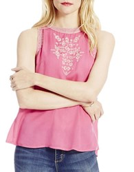 Jessica Simpson Embroidered Sleeveless Top Carmine