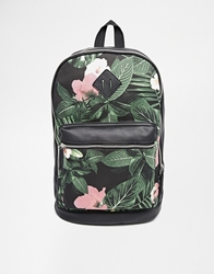 Asos Backpack Bag In Floral Print Black