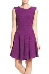 Gabby Skye Pintuck Fit And Flare Dress Purple