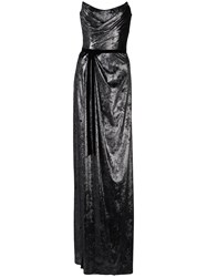 Marchesa Notte Metallic Strapless Split Front Gown 60