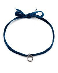 Dannijo Vix Velvet Choker Necklace Navy
