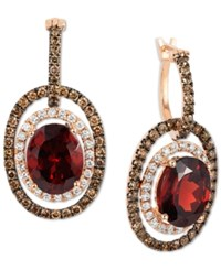 Le Vian Chocolatier Raspberry Rhodolite Garnet 6 Ct. T.W. And Diamond 1 1 3 Ct. T.W. Earrings In 14K Rose Gold Created For Macy's Red